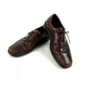 Ecco Leather Square Dress Lace Up Oxfords Shoes